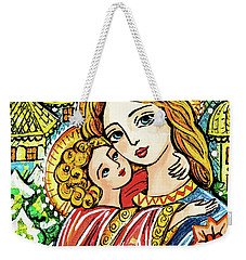 Weekender Tote Bag featuring the painting Winter Church by Eva Campbell