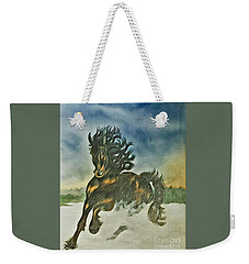 Weekender Tote Bag featuring the mixed media Winter Dance by Diane Miller