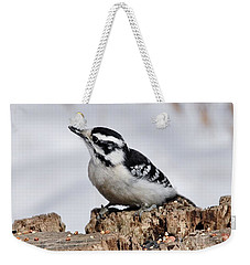 Winter Downy Woodpecker Weekender Tote Bag