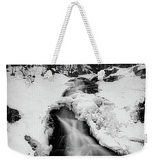 Weekender Tote Bag featuring the photograph Winter Falls With Sun by Alan Raasch