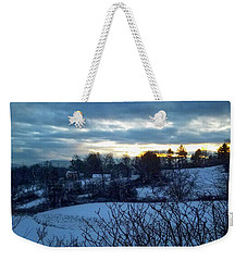 Weekender Tote Bag featuring the photograph Winter Fields by Michael Friedman