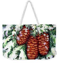 Winter Fir Cones Weekender Tote Bag by Inese Poga