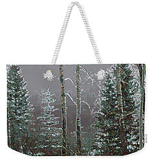 Weekender Tote Bag featuring the digital art Winter Fog by Stuart Turnbull
