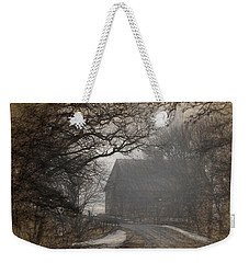 Winter Foggy Countryside Road And Barn Weekender Tote Bag
