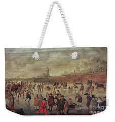 Weekender Tote Bag featuring the photograph Winter Fun Painting By Barend Avercamp by Patricia Hofmeester