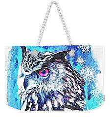 Cute Screech Owl Winter Artwork Weekender Tote Bag