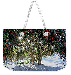 Weekender Tote Bag featuring the photograph Winter Holly by Jessica Brawley