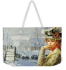 Winter Holly Weekender Tote Bag