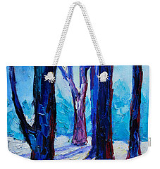 Weekender Tote Bag featuring the painting Winter Impression by Ana Maria Edulescu