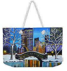 Winter In New York- Night Landscape Weekender Tote Bag