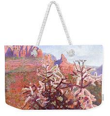 Weekender Tote Bag featuring the painting Winter In Sedona, Arizona by Nancy Lee Moran
