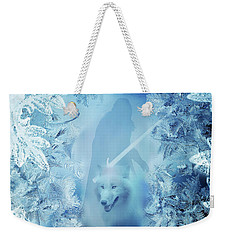 Winter Is Here - Jon Snow And Ghost - Game Of Thrones Weekender Tote Bag by Lilia D