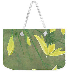 Weekender Tote Bag featuring the painting Winter Jasmine by Barbara Moignard