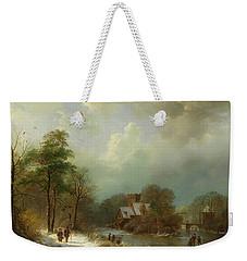 Weekender Tote Bag featuring the painting Winter Landscape - Holland by Barend Koekkoek
