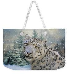 Winter Leopard Weekender Tote Bag by Jai Johnson