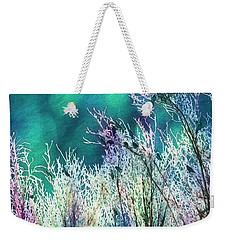 Weekender Tote Bag featuring the photograph Winter Lights by Kathy Bassett