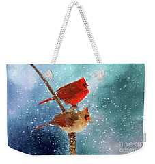 Weekender Tote Bag featuring the photograph Winter Love by Darren Fisher