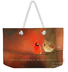 Weekender Tote Bag featuring the photograph Winter Love2 by Darren Fisher
