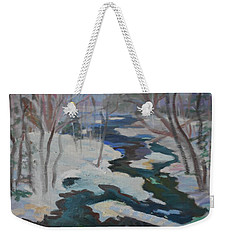 Winter Mill Stream  Weekender Tote Bag