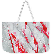 Winter Moods 1 - Cardinal Red And Icy Gray Nature Abstract Weekender Tote Bag by Menega Sabidussi