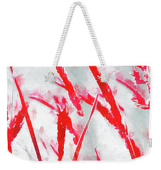 Weekender Tote Bag featuring the painting Winter Moods 2 - Winterberry Red And Snowy White Nature Abstract by Menega Sabidussi