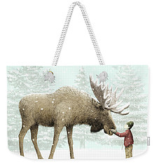Winter Moose Weekender Tote Bag