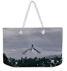 Winter Morning Fog Envelops Chimney Rock Weekender Tote Bag