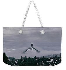 Winter Morning Fog Envelops Chimney Rock Weekender Tote Bag