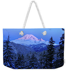 Winter Morning With Mount Rainier Weekender Tote Bag
