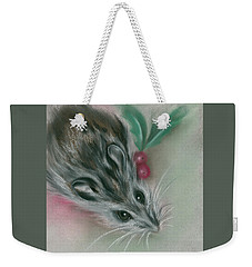 Winter Mouse With Holly Weekender Tote Bag