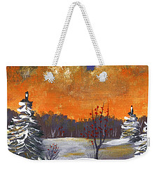 Weekender Tote Bag featuring the painting Winter Nightfall #1 by Anastasiya Malakhova