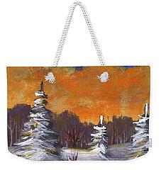 Weekender Tote Bag featuring the painting Winter Nightfall #2 by Anastasiya Malakhova