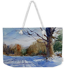 Winter On White Road Weekender Tote Bag by Sandra Strohschein