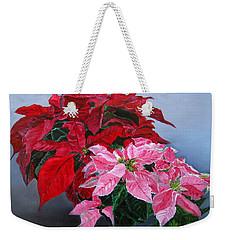 Winter Poinsettias Weekender Tote Bag