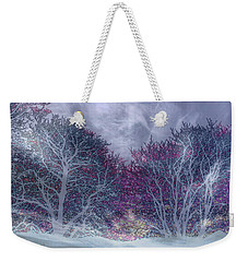 Weekender Tote Bag featuring the photograph Winter Purple by Nareeta Martin