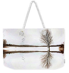 Weekender Tote Bag featuring the digital art Winter Reflection by Sue Collura