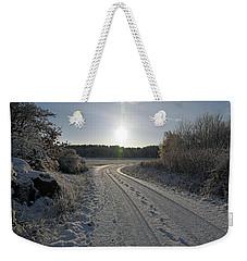 Winter Road Weekender Tote Bag