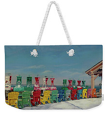 Weekender Tote Bag featuring the painting Winter Sentries by Lynne Reichhart