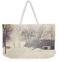 Winter Snow Storm At The Farm Weekender Tote Bag