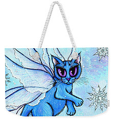 Winter Snowflake Fairy Cat Weekender Tote Bag