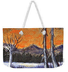 Weekender Tote Bag featuring the painting Winter Solitude #3 by Anastasiya Malakhova
