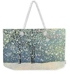 Weekender Tote Bag featuring the painting Winter Sonnet by Hailey E Herrera