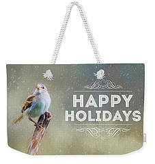 Winter Sparrow Holiday Card Weekender Tote Bag