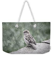 Winter Sparrow Weekender Tote Bag