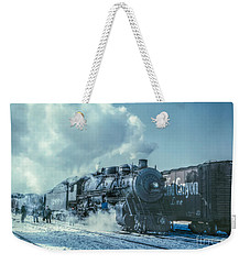 Winter Steam Train Weekender Tote Bag