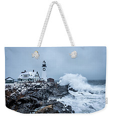 Winter Storm, Portland Headlight Weekender Tote Bag