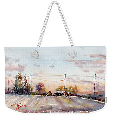 Winter Sunrise On The Lane Weekender Tote Bag by Judith Levins