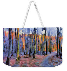 Winter Sunset In The Beech Wood Weekender Tote Bag by Menega Sabidussi