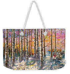 Dylan's Snowman - Winter Sunset Landscape Impressionistic Painting With Palette Knife Weekender Tote Bag