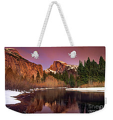 Weekender Tote Bag featuring the photograph Winter Sunset Lights Up Half Dome Yosemite National Park by Dave Welling
